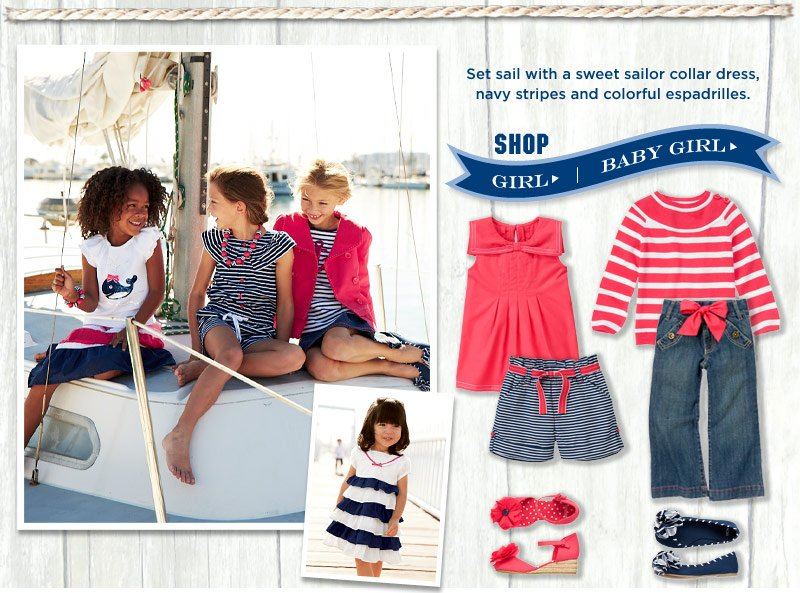 Set sail with a sweet sailor collar dress, navy stripes and colorful espadrilles.