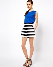 ASOS High Waisted Shorts In Bold Stripe
