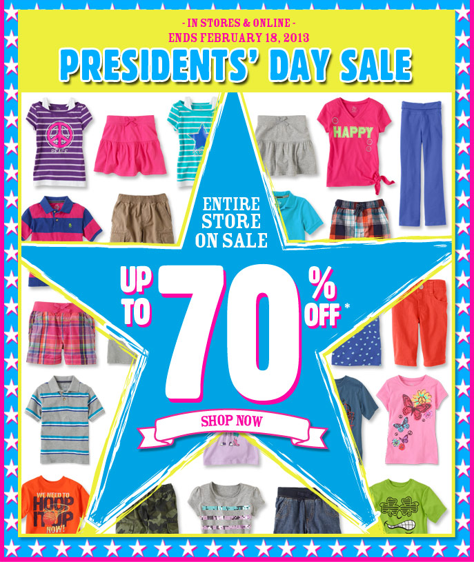 Presidents' Day Sale! Entire Store Up To 70% Off