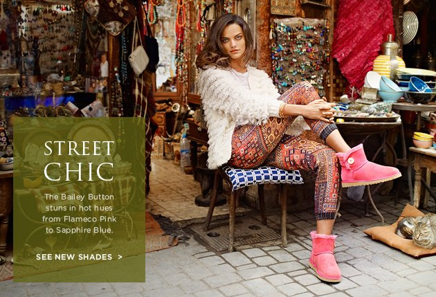 Street Chich - The Bailey Button stuns in hot hues from Flameco Pink to Sapphire Blue. See new shades