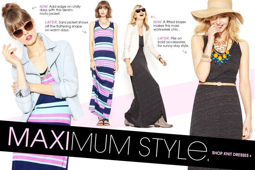 MAXIMUM STYLE. SHOP KNIT DRESSES