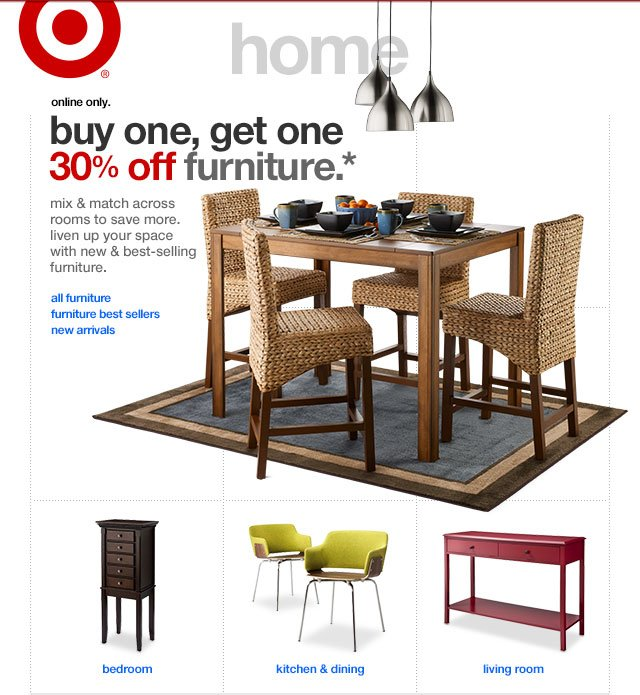 buy one, get one 30% off furniture.