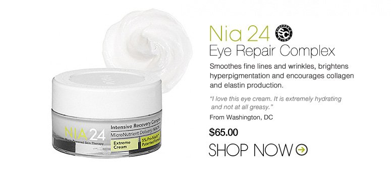 "Shopper's Choice Nia 24 Eye Repair Complex Smoothes fine lines and wrinkles, brightens hyperpigmentation and encourages collagen and elastin production. ""I love this eye cream. It is extremely hydrating and not at all greasy."" –From Washington, DC $65 Shop Now>>"
