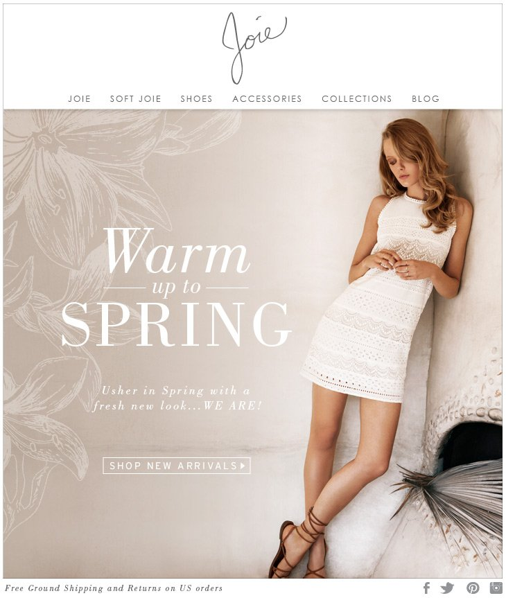 Warm up to SPRING Usher in Spring with a fresh new look...WE ARE! SHOP NEW ARRIVALS>