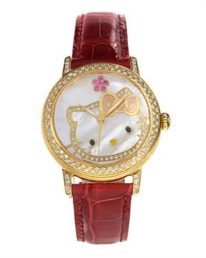 Brand New Hello Kitty Diamond Watch with Alligator Leather Band