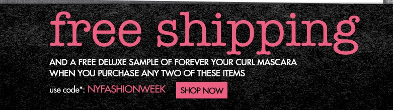 free shipping and free deluxe sample mascara