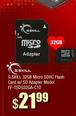 G.SKILL 32GB Micro SDHC Flash Card w/ SD Adapter Model FF-TSDG32GA-C10