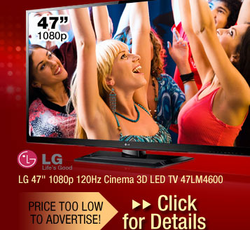 "LG 47"" 1080p 120Hz Cinema 3D LED TV 47LM4600"
