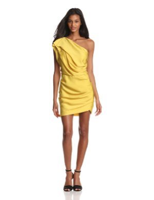 HALSTON HERITAGE <br/>One Shoulder Dress With Asymmetrical Hem