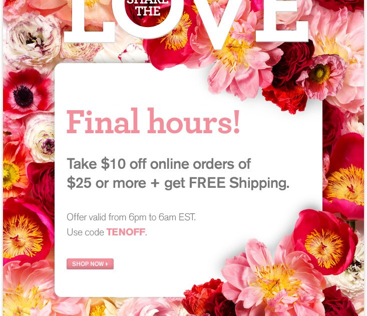 Today only Take 10 dollars off online orders of 25 dollars or more plus get FREE shipping Offer valid from 6pm to 6am EST Use code TENOFF SHOP NOW