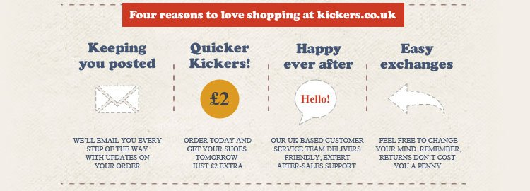 Four reasons to love shopping at kickers.co.uk