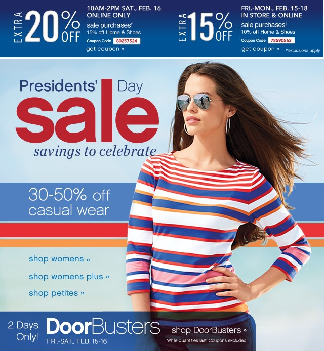 Presidents Day Sale Saving to celebreate. Extra 20% or 15% off. Get Coupon.