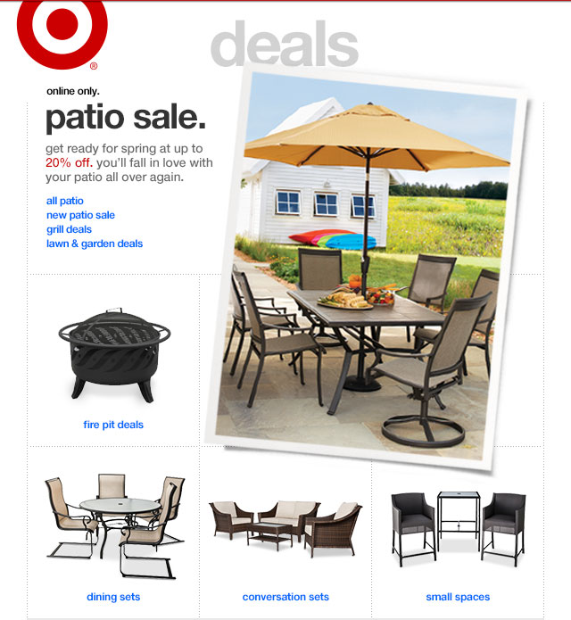 Online only. PATIO SALE.