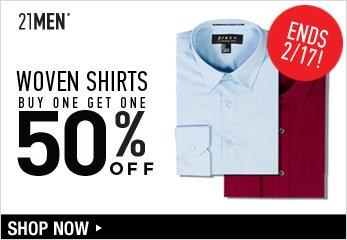 MEN BOGO Woven Shirts ends 2/17! - Shop Now