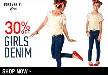 Girls 30% Off Denim - Shop Now