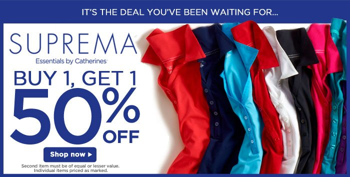 Buy One, Get One 50% Off Suprema!