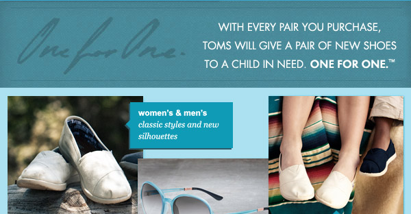 TOMS is coming to zulily with eyewear, women's, men's and youth. Plus One For One. Up to 35% off