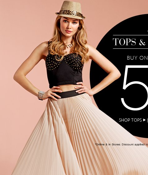 All Tops and Bottoms Buy 1 Get 1 50% OFF!
