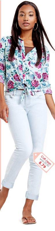 Pale Tonal Cuff Skinny Jean