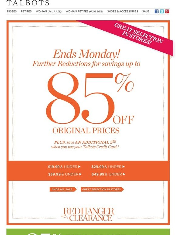 Talbots: 85% Off Ends Soon... Shop Sale While You Can