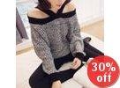 Cutaway-Shoulder Knit Top