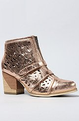 The Max Metallic Eyelet Bootie in Rose Gold