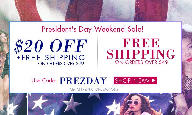 $20 Off + Free Shipping on orders over $99! Shop President's Day Sale on Miss KL!