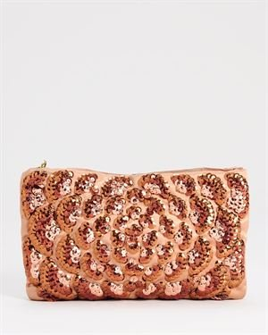 Lanvin LU Rare Sequined Bronze Satin Evening Bag $999