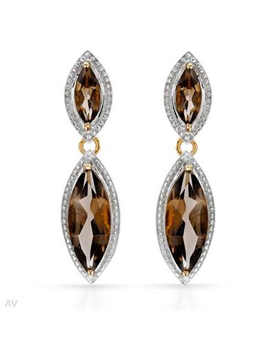 Ladies Topaz Earrings Designed In Two Tone Gold Plated Silver $49