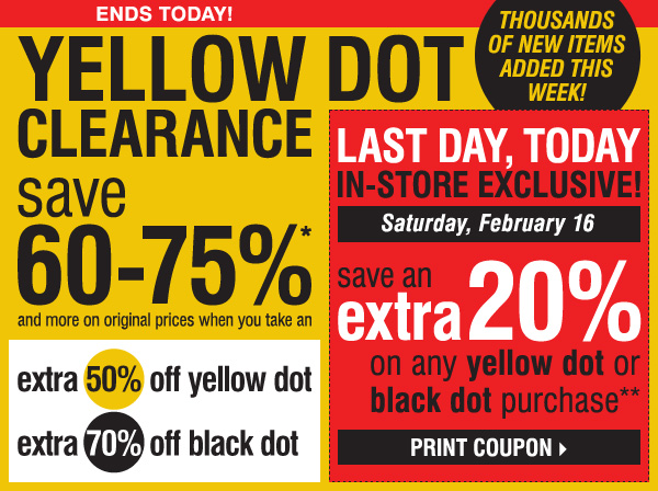 photo regarding Carsons Printable Coupons titled Carsons yellow dot coupon printable / Lowrider coupon code