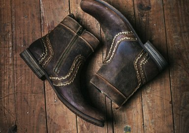 Shop Bed Stu Stitched & Suede-Panel Boots