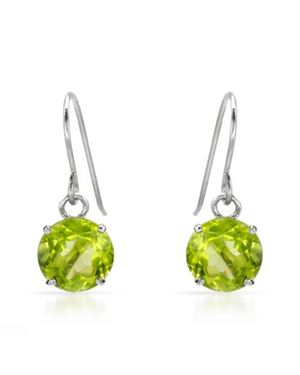 Ladies Peridot Earrings Designed In 10K White Gold