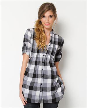 She's Cool Plaid Button-Up Blouse