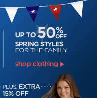 UP TO 50% OFF SPRING STYLES FOR THE FAMILY | shop clothing