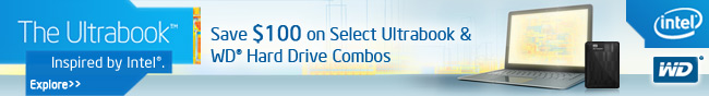 Save $100 on Select Ultrabook & WD Hard Drive Combos.