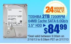 "$84.99 -- TOSHIBA 2TB 7200RPM 64MB Cache SATA 6.0Gb/s 3.5"" HDD"