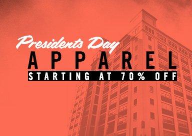 Shop Prez Day Deals: 70% Off Apparel