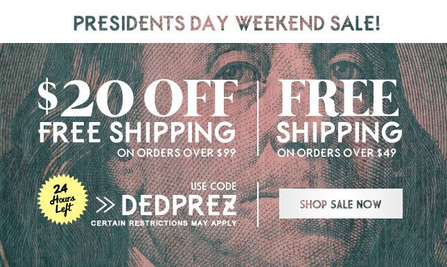 24 Hours Left for $20 Off + Free Shipping on orders over $99!