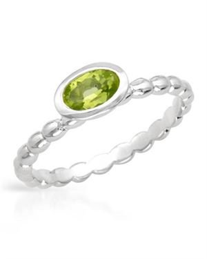 Ladies Peridot Ring Designed In 925 Sterling Silver