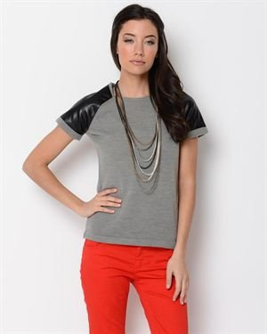 YAL New York Faux Leather Accented Blouse
