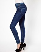 ASOS Ridley Supersoft High waisted Ultra Skinny Jeans in Dark Acid Wash