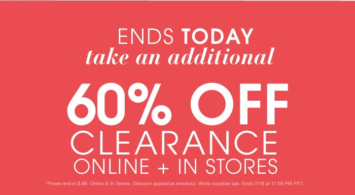 Ends Today - Take An Additional 60% Off clearance