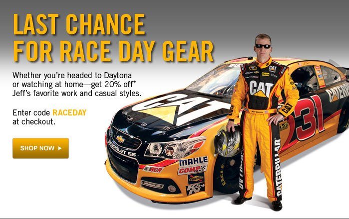 Gear Up For Race Day Get 20% off Jeff's favorite work and casual styles. Enter code RACEDAY at checkout. Shop Now