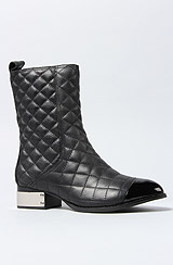 The Zhora Boot in Black Patent Quilted and Silver Toe Cap