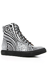 The Flavia Hi Sneaker in White Tribal