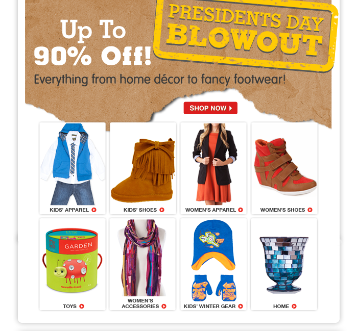 BLOWOUTS ARE BACK! Save up to 90% off the seasons must-haves.