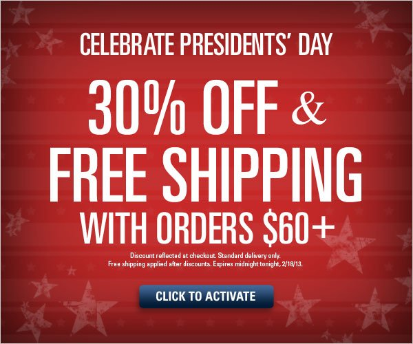 Presidents' Day Sale 30% off orders $60+