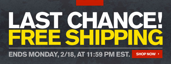 LAST CHANCE FREE SHIPPING! ENDS MONDAY, 2/18, AT 11:59PM EST.