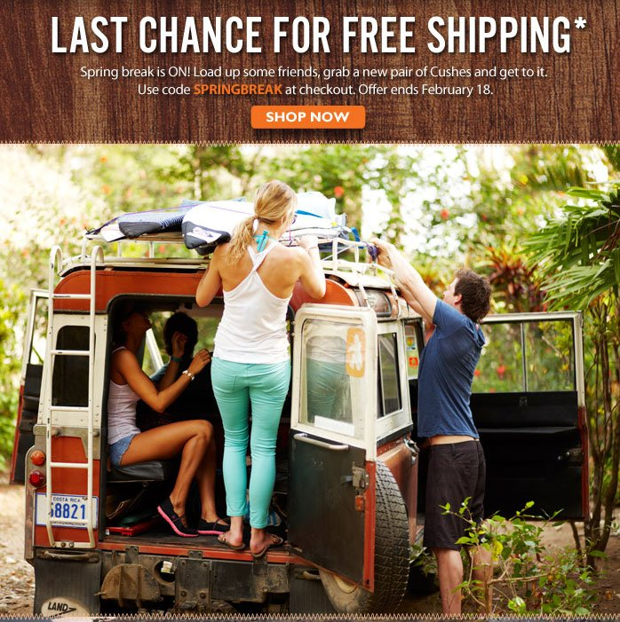 Free Shipping on Getaway Gear! Use code SPRINGBREAK at checkout.  Offer ends February 18. Shop Now