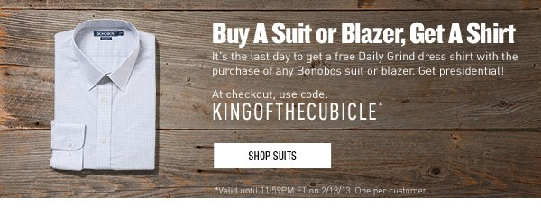 Buy A Suit or Blazer, Get A Shirt